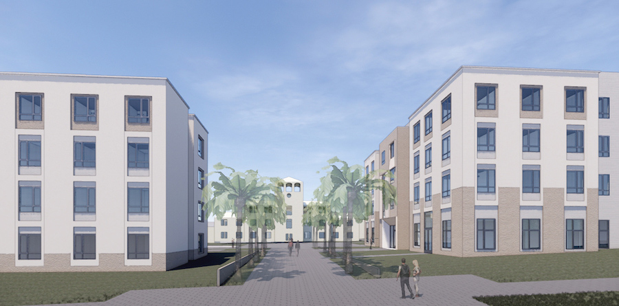 Rendering of new residence halls, with view toward Doheny Hall.